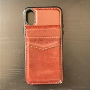 iPhone X/XS Brown Faux-Leather Wallet Phone Case